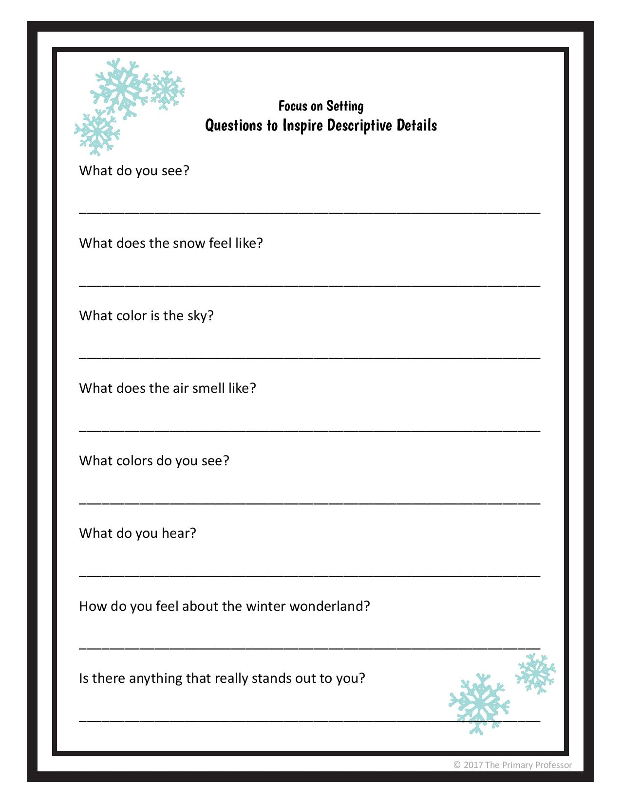 hight resolution of Descriptive Writing Lesson - A Winter Setting — TeachWriting.org