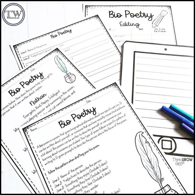 29 Reasons to Write Bio Poems to Kick off AND Wrap up Your School