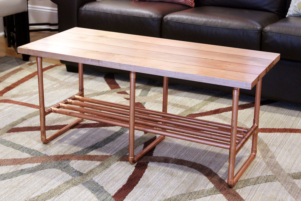coffee table with copper inlay and