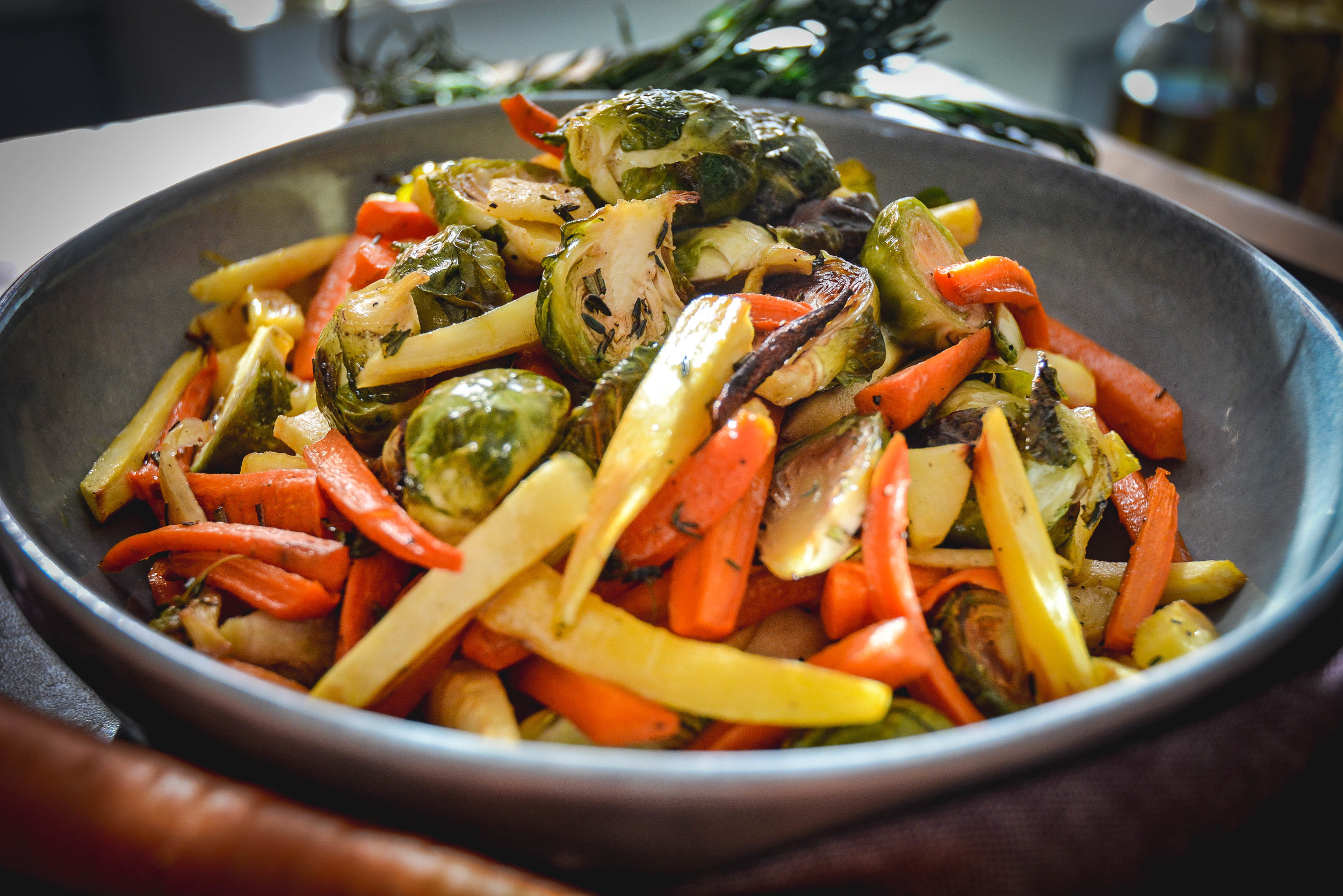 Roasted Root Vegetables on grey plate