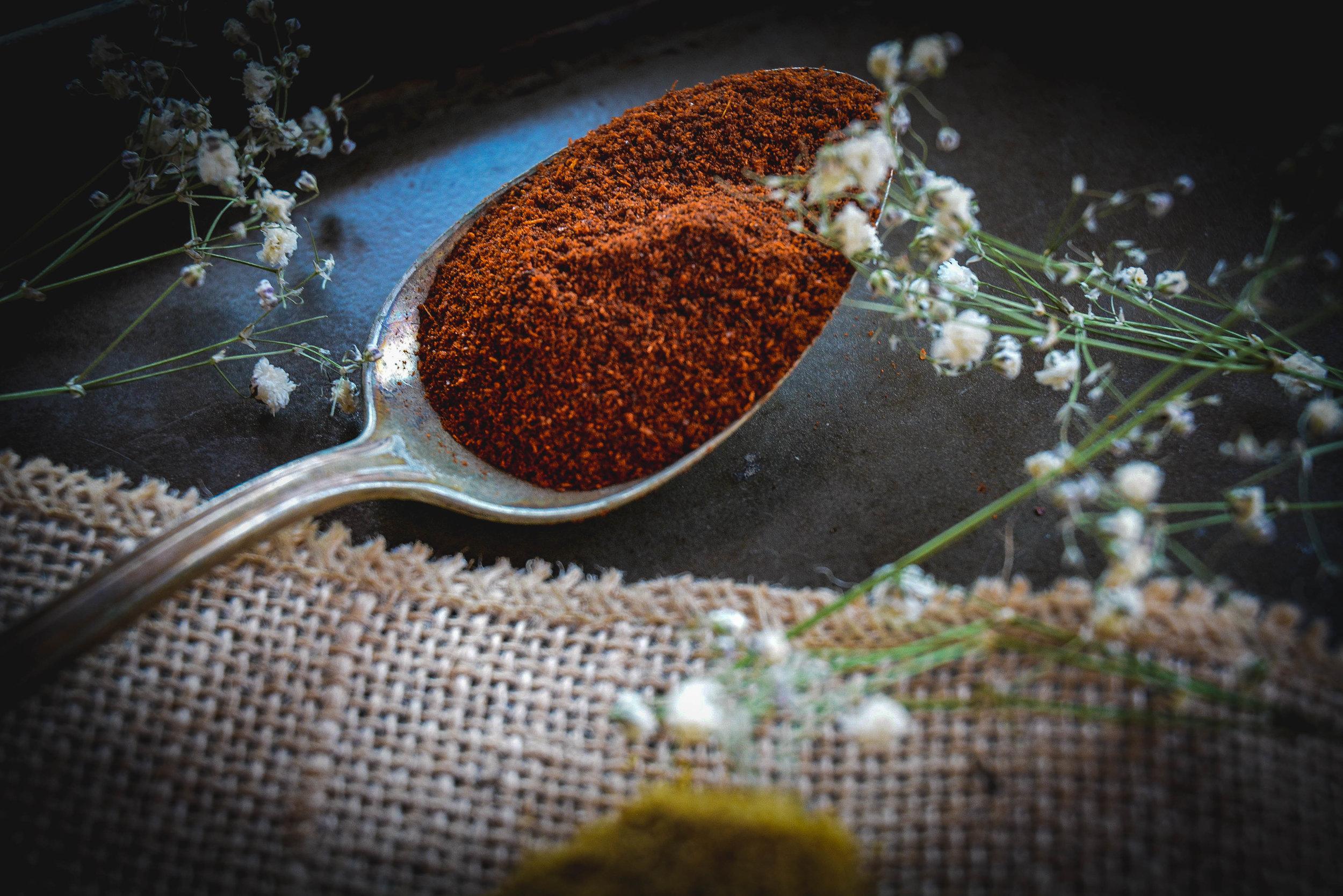spoon and chili powder