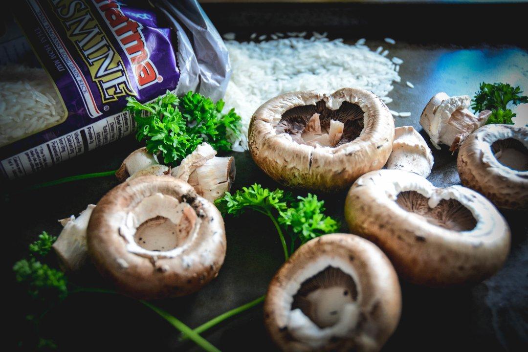 rice, mushrooms and parsley