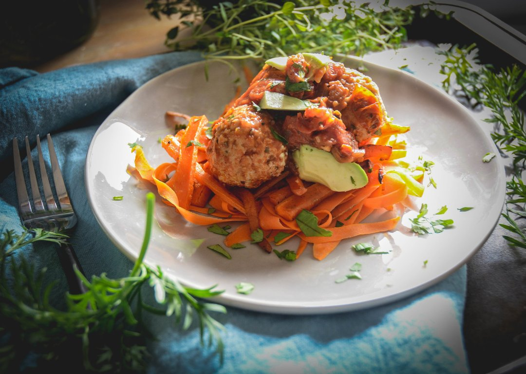 chicken meatballs, avocado and carrots