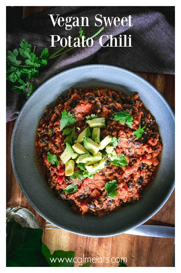 A warming and comforting chili that's simple to make and requires only a few ingredients. Sweet potatoes, black beans, broth, onion, garlic and spices. Wonderful on its own or great over quinoa. #sweetpotatochili, #chili, #calmeats, #sweetpotato, #glutenfree, #grainfree, #dairyfree, #fall, #dinner