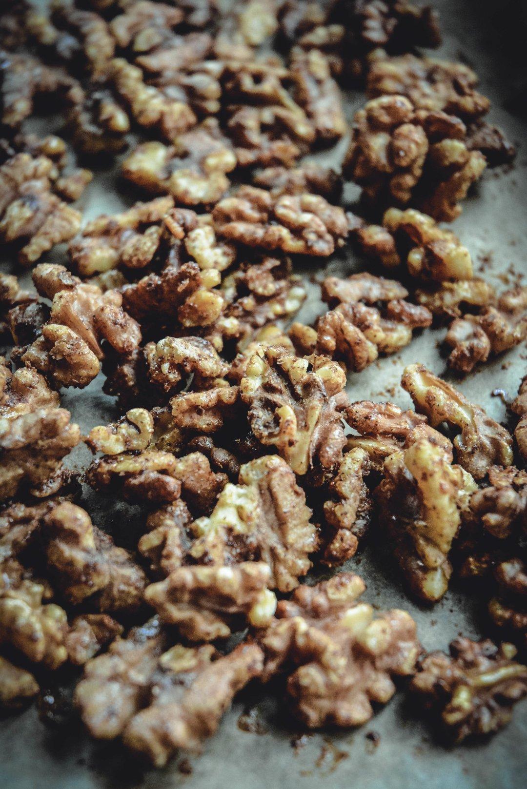 maple cardamom candied walnuts