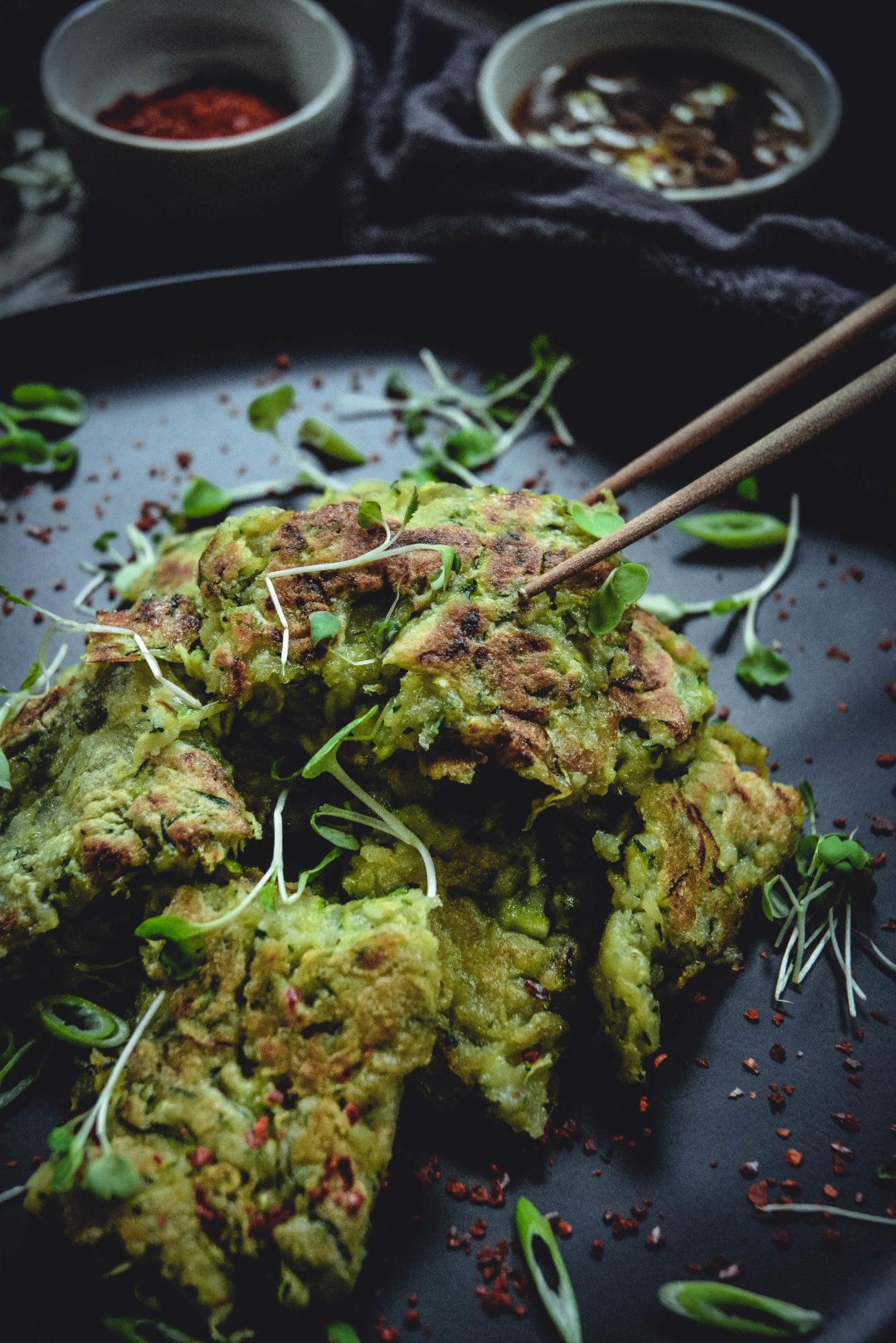 A delicious crispy zucchini pancakes dipped in a mouthwatering sweet and sour sauce. Recipe created by Jean Choi, author of Korean Paleo. @whatgreatgrandmaate #whatgreatgrandmaate #koreanpaleocookbook #koreanfood #zucchinipancakes #koreanzucchinipancakes #paleo #vegan #glutenfree #dairyfree #calmeats #jeanchoi