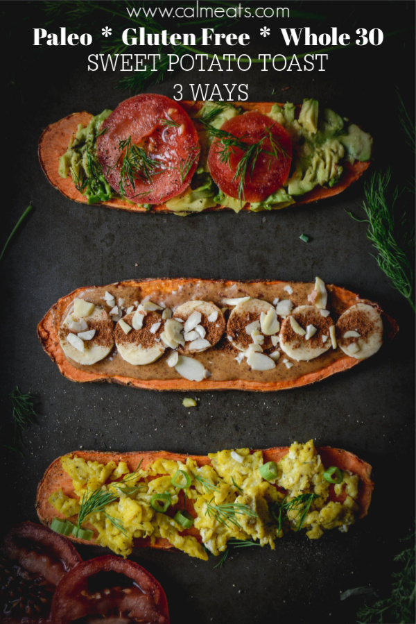 Have you wondered how to make sweet potato toast? Here is a simple guide to making sweet potato toast not one but three ways - savory as well as sweet. You can top them with anything you want, I went with fresh tomatoes, scrambled eggs and almond butter and banana. They are gluten free, paleo and whole 30 approved! #sweetpotatotoast #whole30breakfast #paleobreakfast #calmeats #howtomakesweetpotatotoast #breakfast #eggs #paleo #grainfree #dairyfree #brunchideas #brunch #breakfastideas