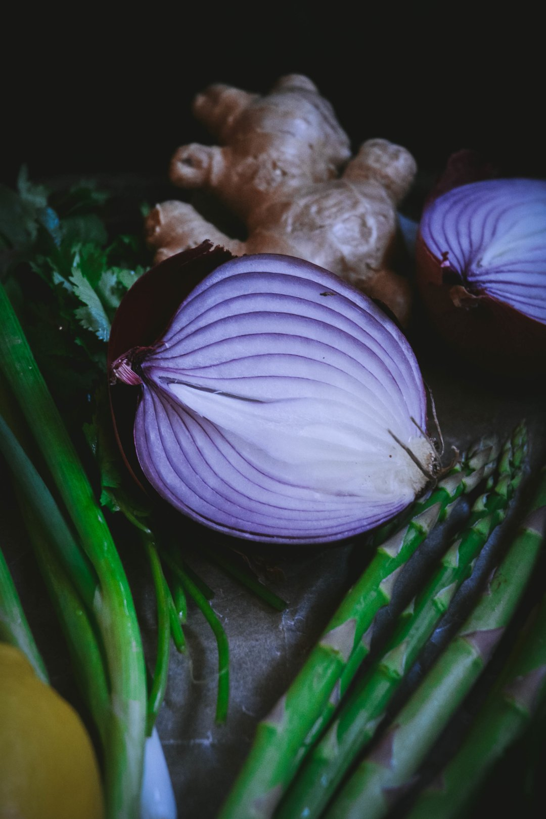 red onion, ginger, asparagus