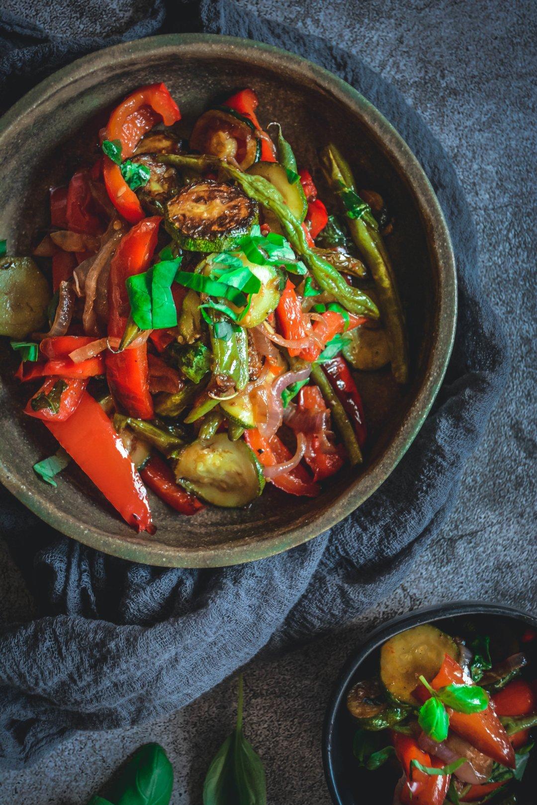 Grilled vegetables I bowls on napkin