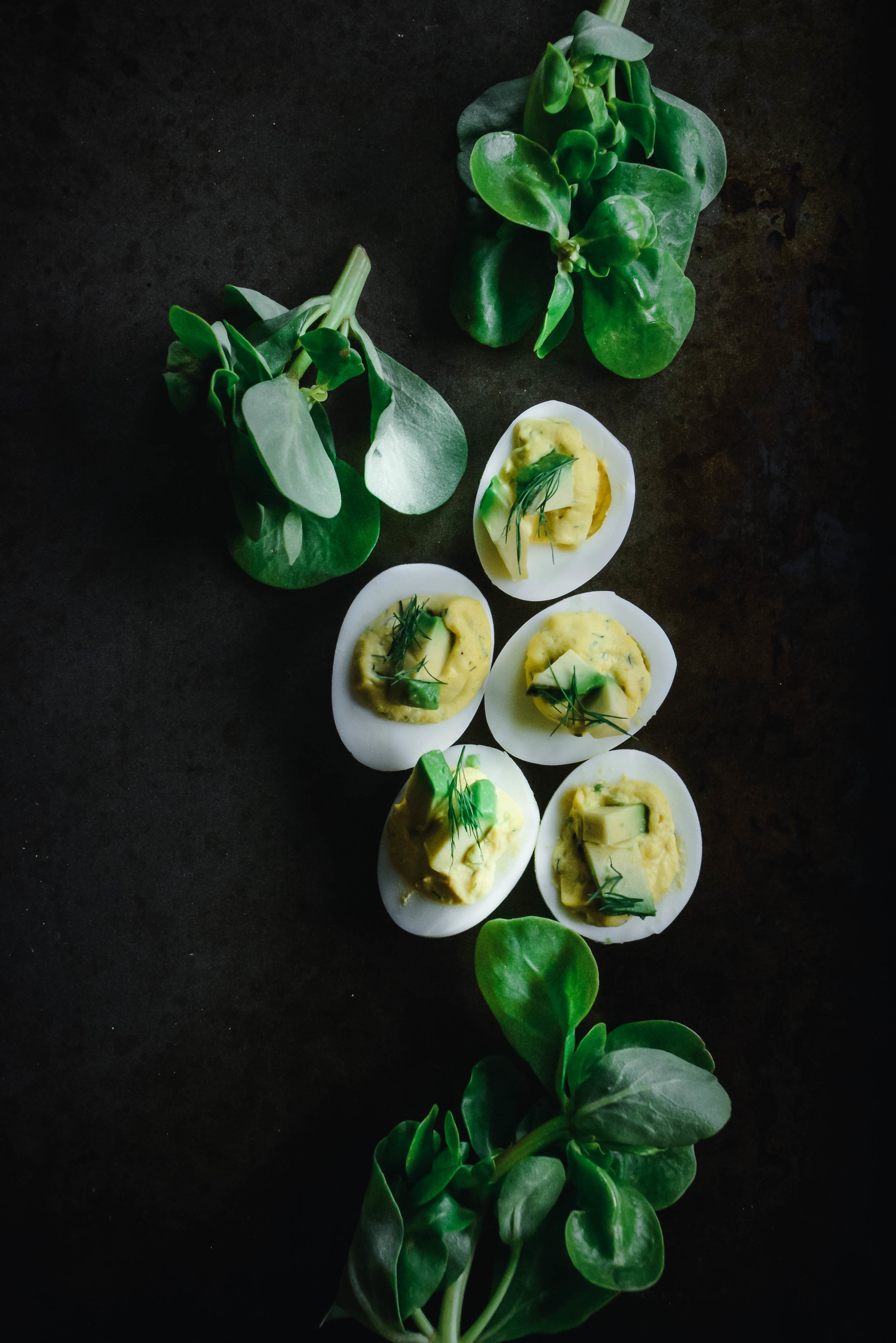 5 deviled eggs and greens