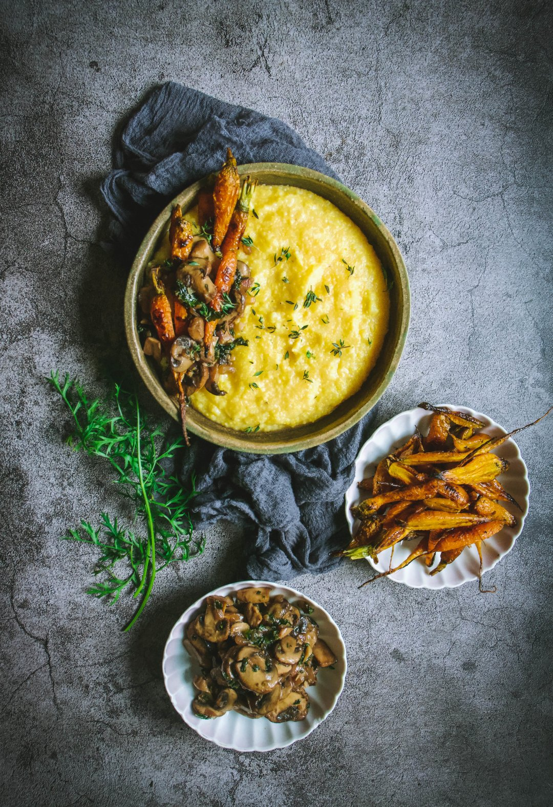 polenta with roasted mushrooms and carrots