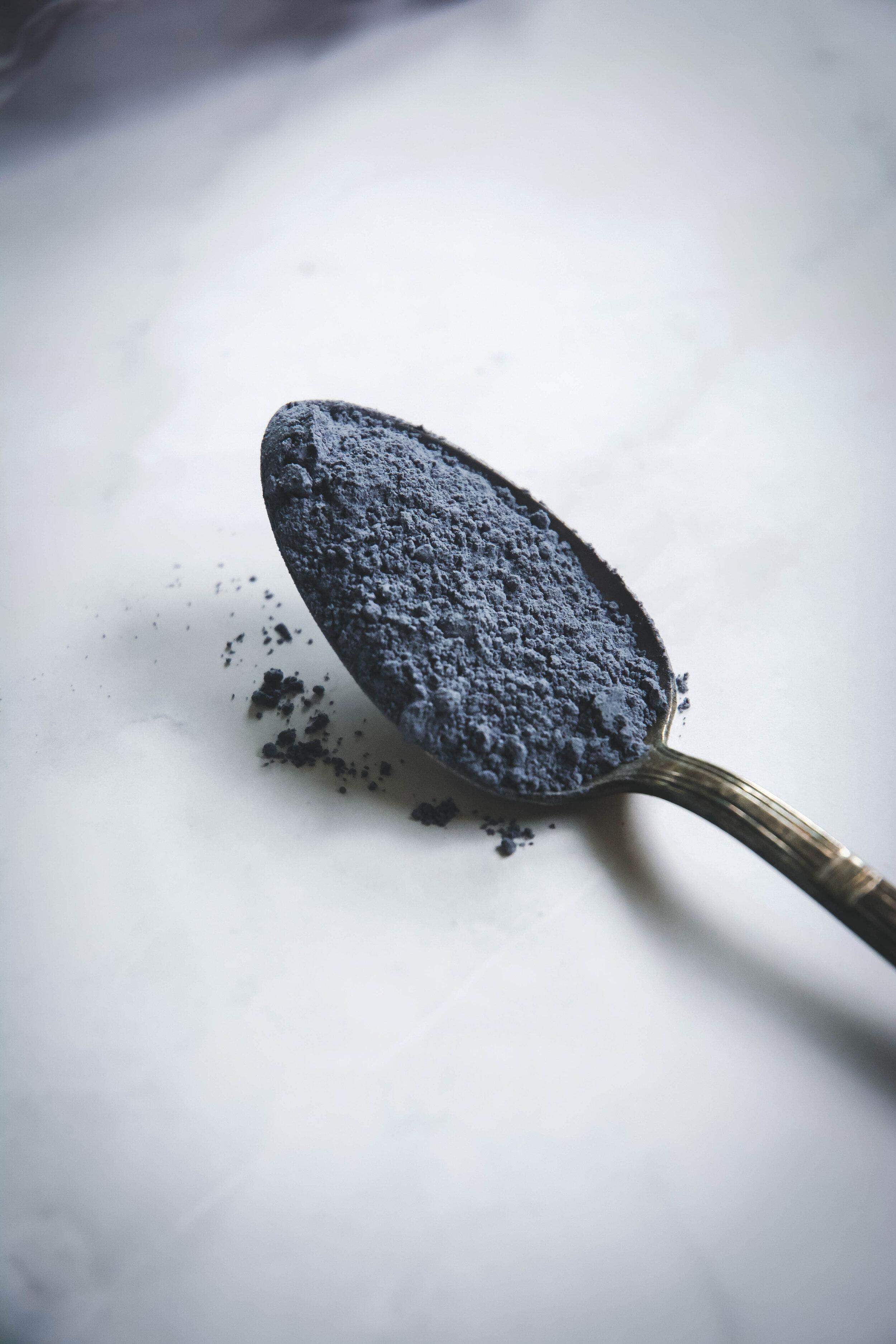 Blue powder in spoon