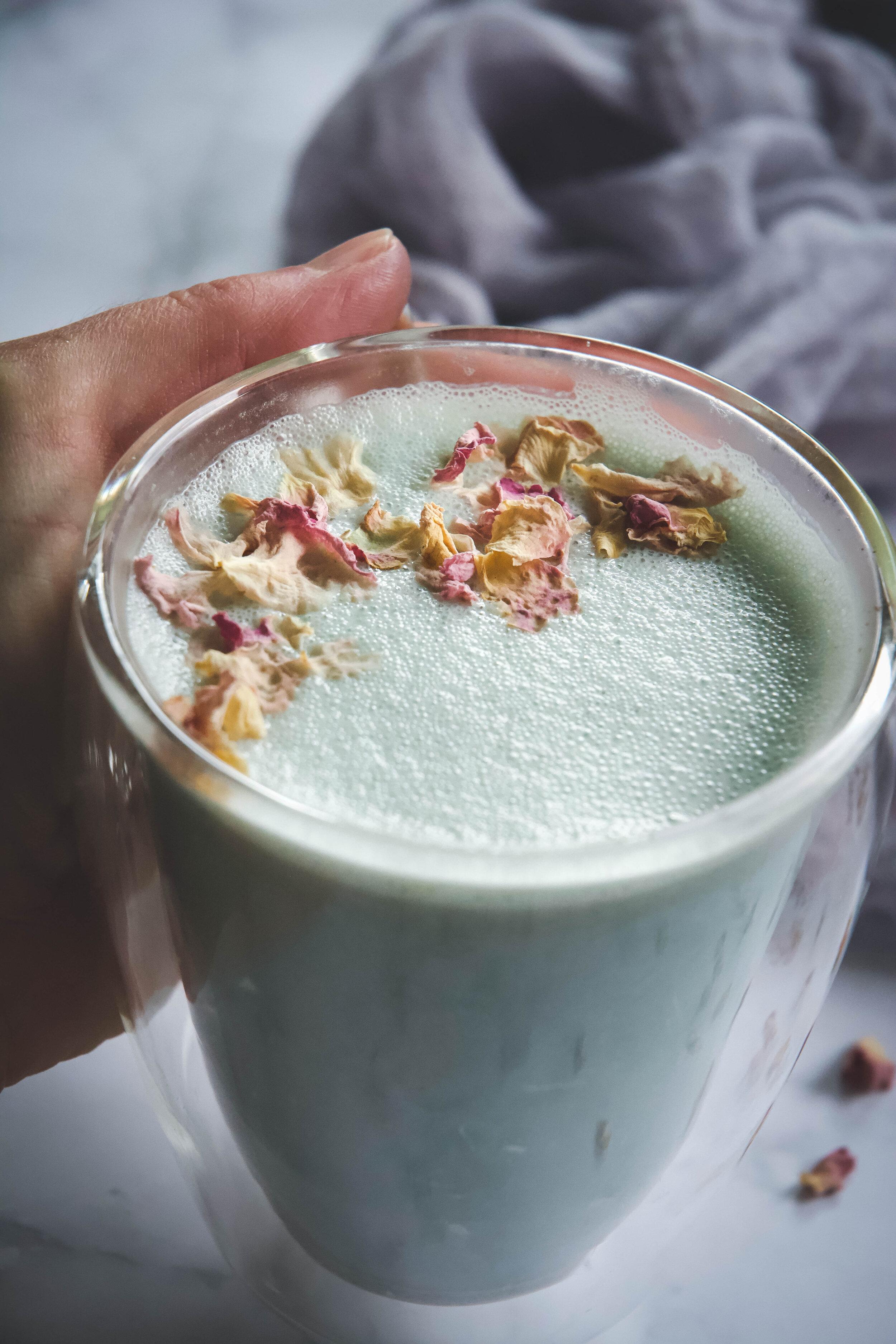 Cardamom moon milk in cup