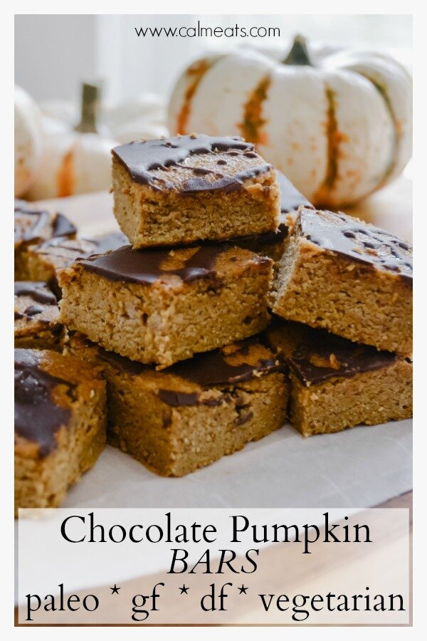 A delicious alternative to pumpkin pie, that's gluten and dairy free, paleo and oh so tasty. All the flavors of fall packed into one bite size bar. Oh, and there's chocolate involved! #paleo, #glutenfree, #paleodesserts, falldesserts #falltreats #pumpkinbars #chocolatepumpkinbars #glutenfreedesserts, #pumpkinbars, #pumpkin, #dairyfree, #calmeats, #paleopumpkindessert