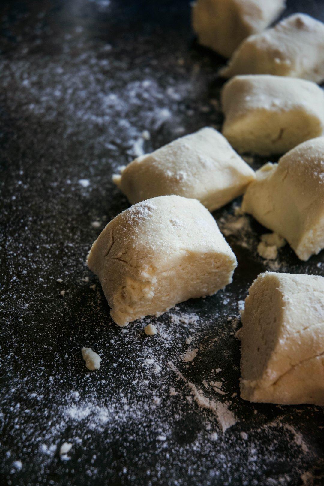 Tortilla dough and wax paper