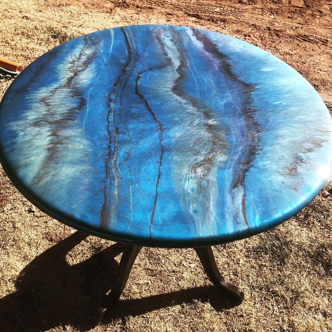 Neptune's Table (Faux Blue Granite) $600 — Vicki's Visions LLC