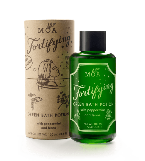 With peppermint and fennel   De-stress the mind and relieve aches and pains with this concentrated, revitalising, magical bath potion. An invigorating herbal blend, sure to put the spring back in your step after a long, tiring day.  With skin toning, refreshing peppermint, detoxifying fennel, calming, relaxing fir needle and sweet birch to ease achy muscles and help to soften the skin.  Spell for feeling balanced: Pour 2-3 capfuls into a full bath. Once immersed in the water, breathe in and let the natural essential oils clear the mind and lift your mood...magic!