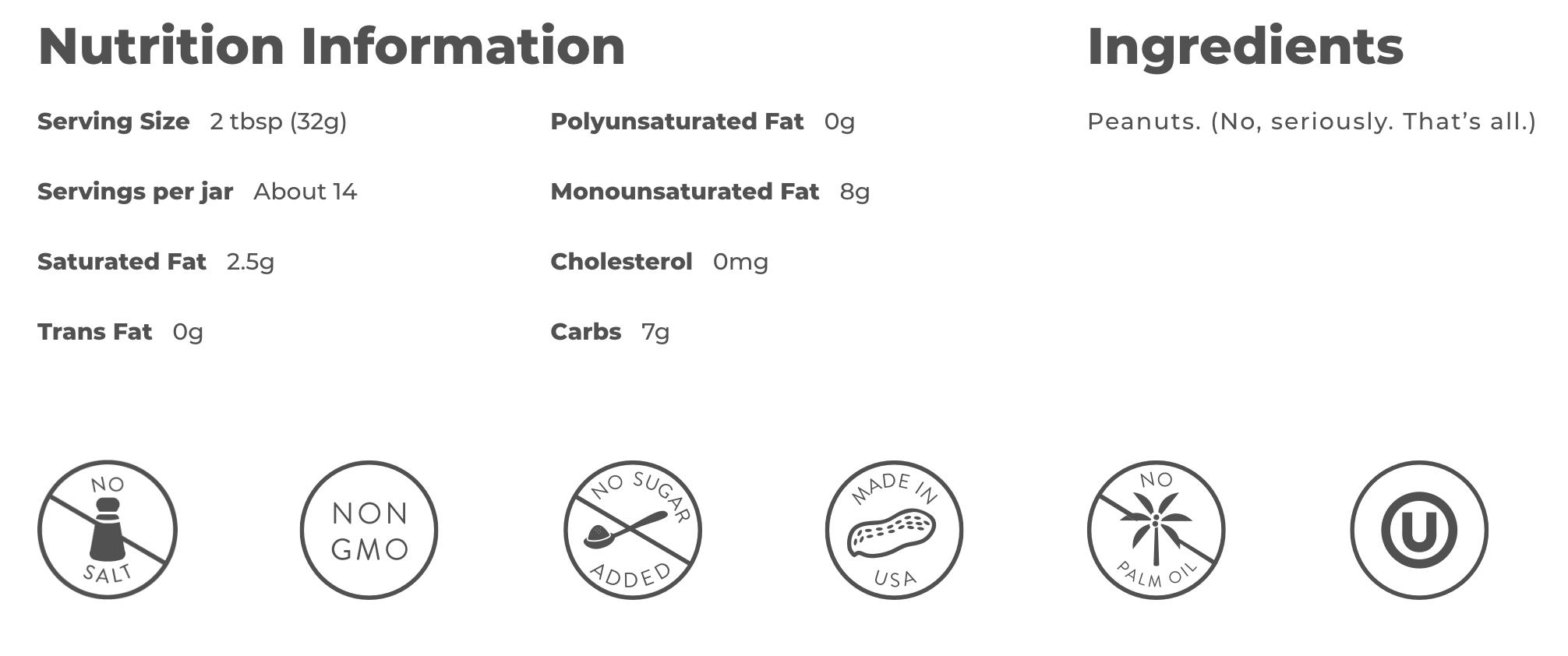 Crazy Richards Peanut Butter Nutrition Information
