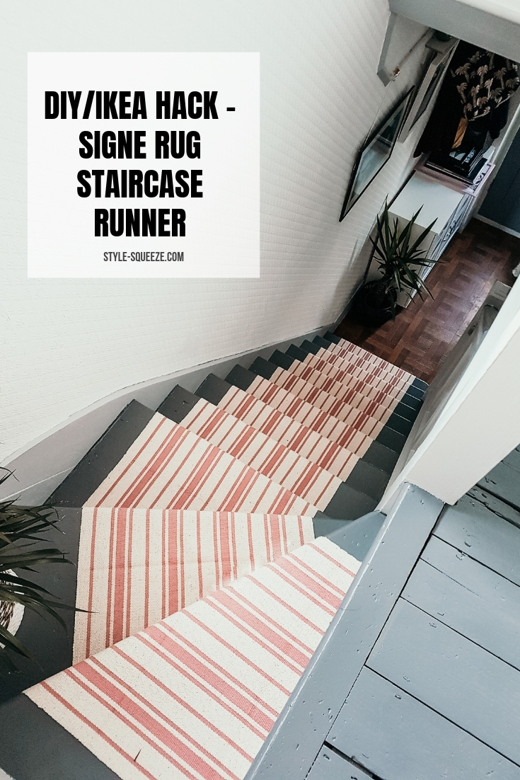 Diy Ikea Hack Signe Rug Staircase Runner — Style Squeeze | End Of The Roll Stair Runners | Roger Oates | Staircase Makeover | Wall Carpet | Hallway Carpet | Stair Treads