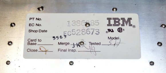 """Inspection sticker from interior case of IBM """"Model M"""" keyboard, 1987. Today, hand-inked initials are rarely seen on inspection tags."""