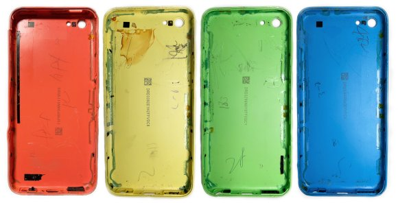 Why are iPhone 5c cases, in all of their platonic perfection, covered with pencil marks?