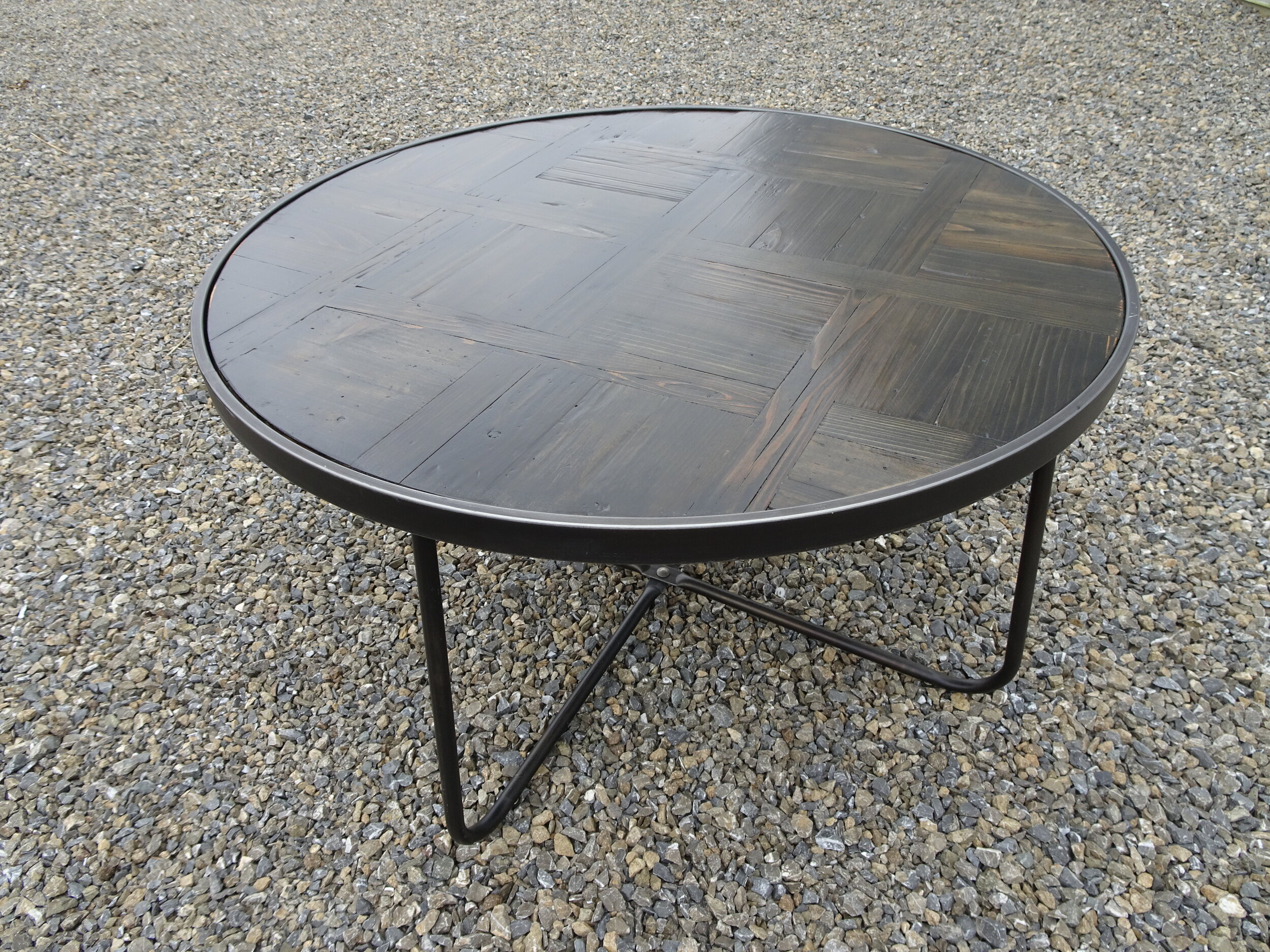 metal and wood round coffee table gk events hire