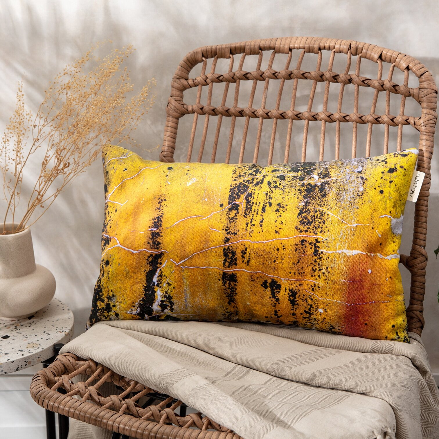 ruth holly baked yellow ochre with charcoal slim cushion nomad texture