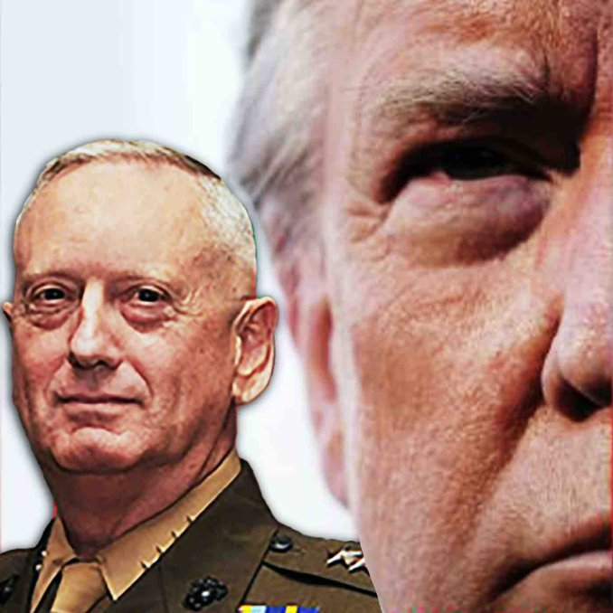Collage: Image of half of Trump's face from Bob Woodward's new book, and a cropped cutout image of James Mattis.