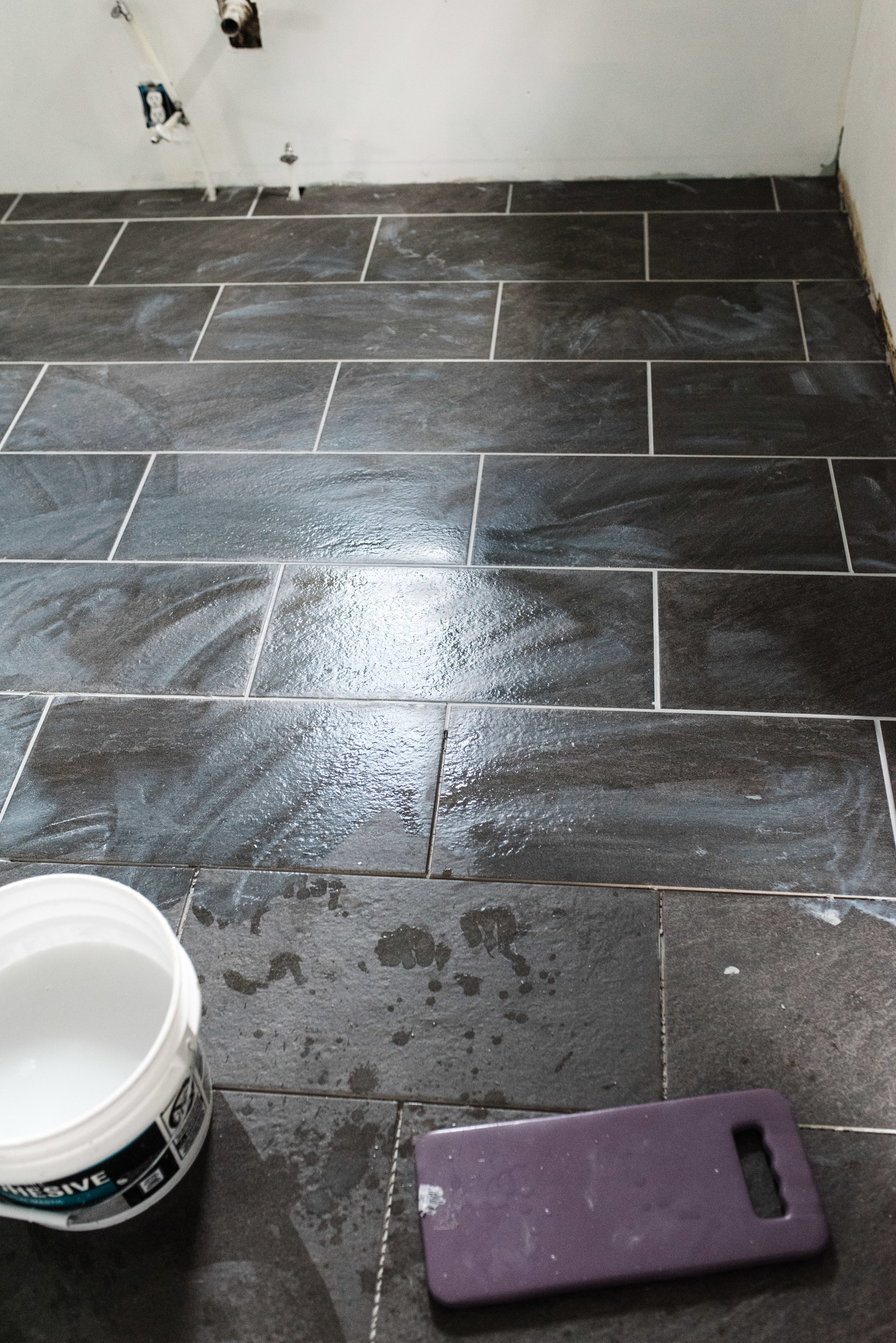 laying tile for the kitchen floor
