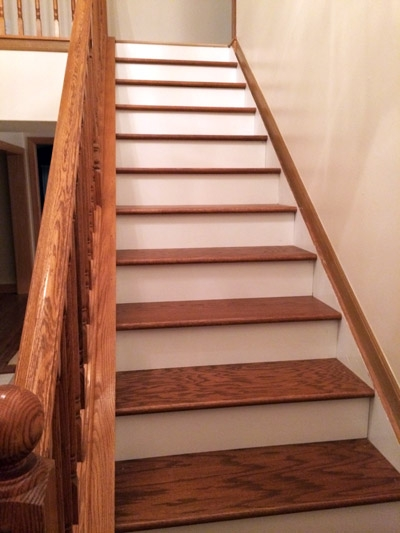 Diy Stair Makeover Carpet To Hardwood — Schooley Caldwell | Hardwood Treads And Risers | Stair Nosing | Carpet | Hardwood Flooring | Red Oak | Stair Tread