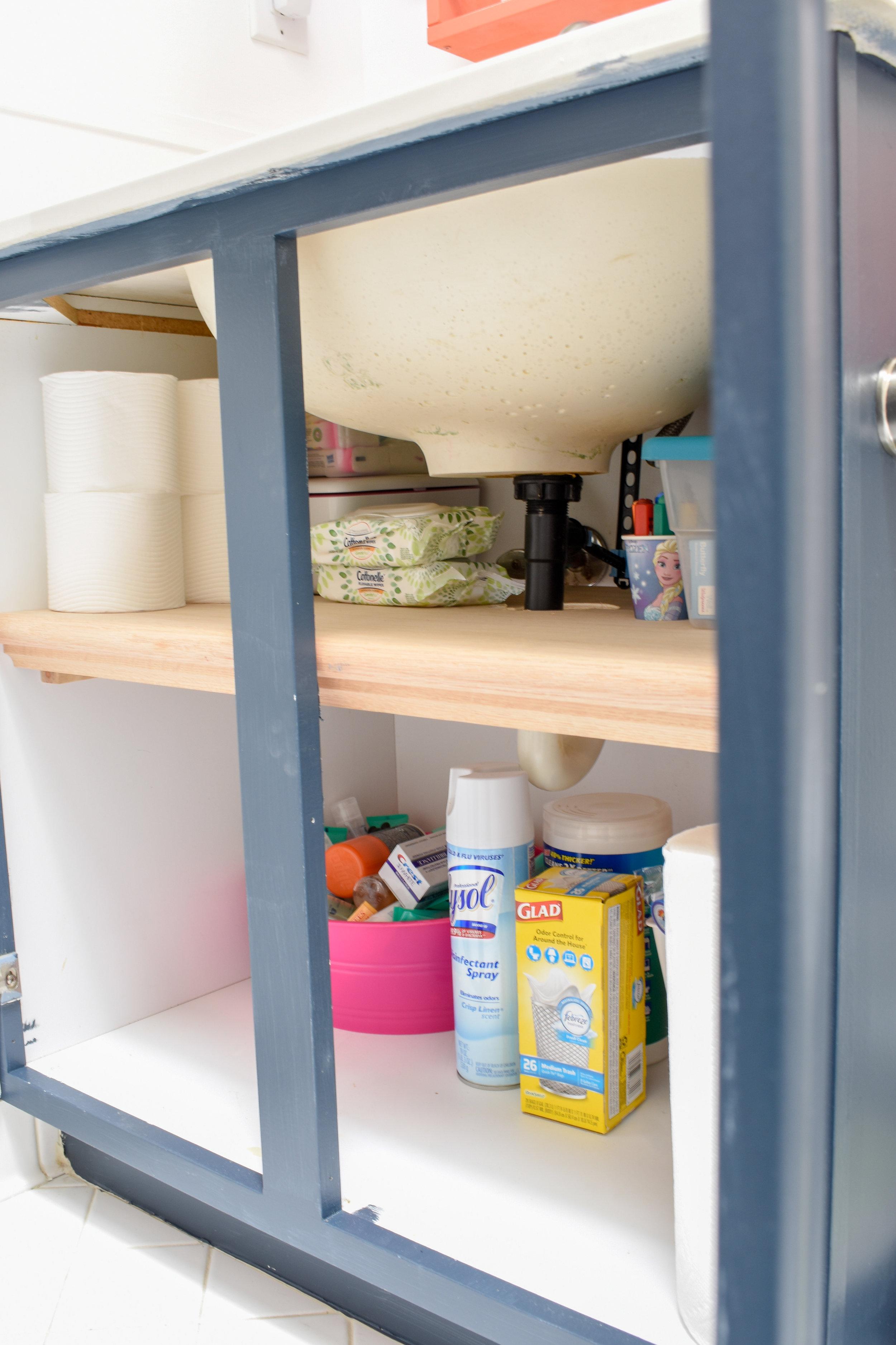 bathroom organizing diy under cabinet