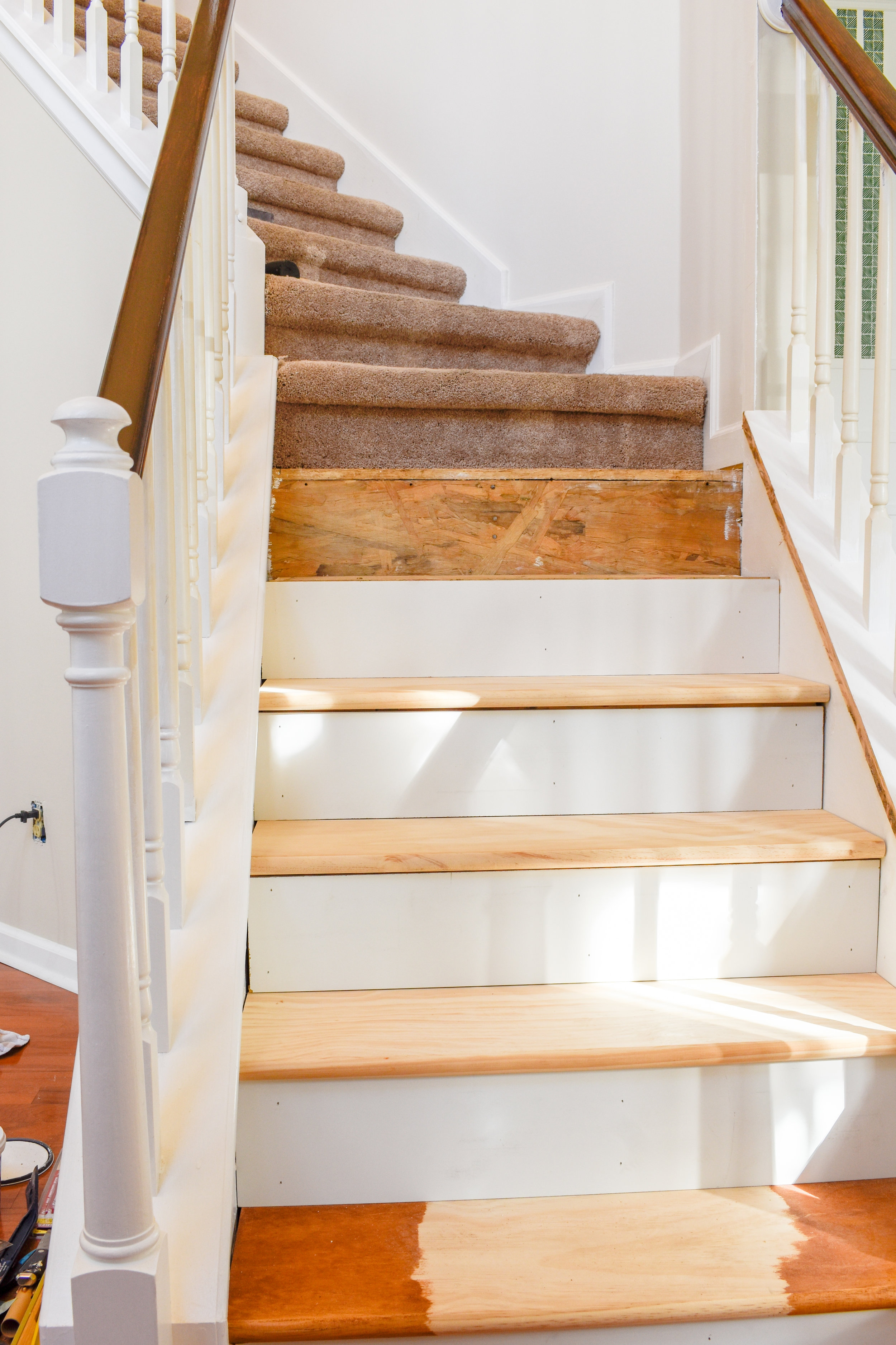 Diy Hardwood Staircase Makeover Replacing Carpet With Wood Treads | Installing Hardwood Stair Treads | Stair Railing | Wood Flooring | Staircase Makeover | Wooden Stairs | Carpeted Stairs