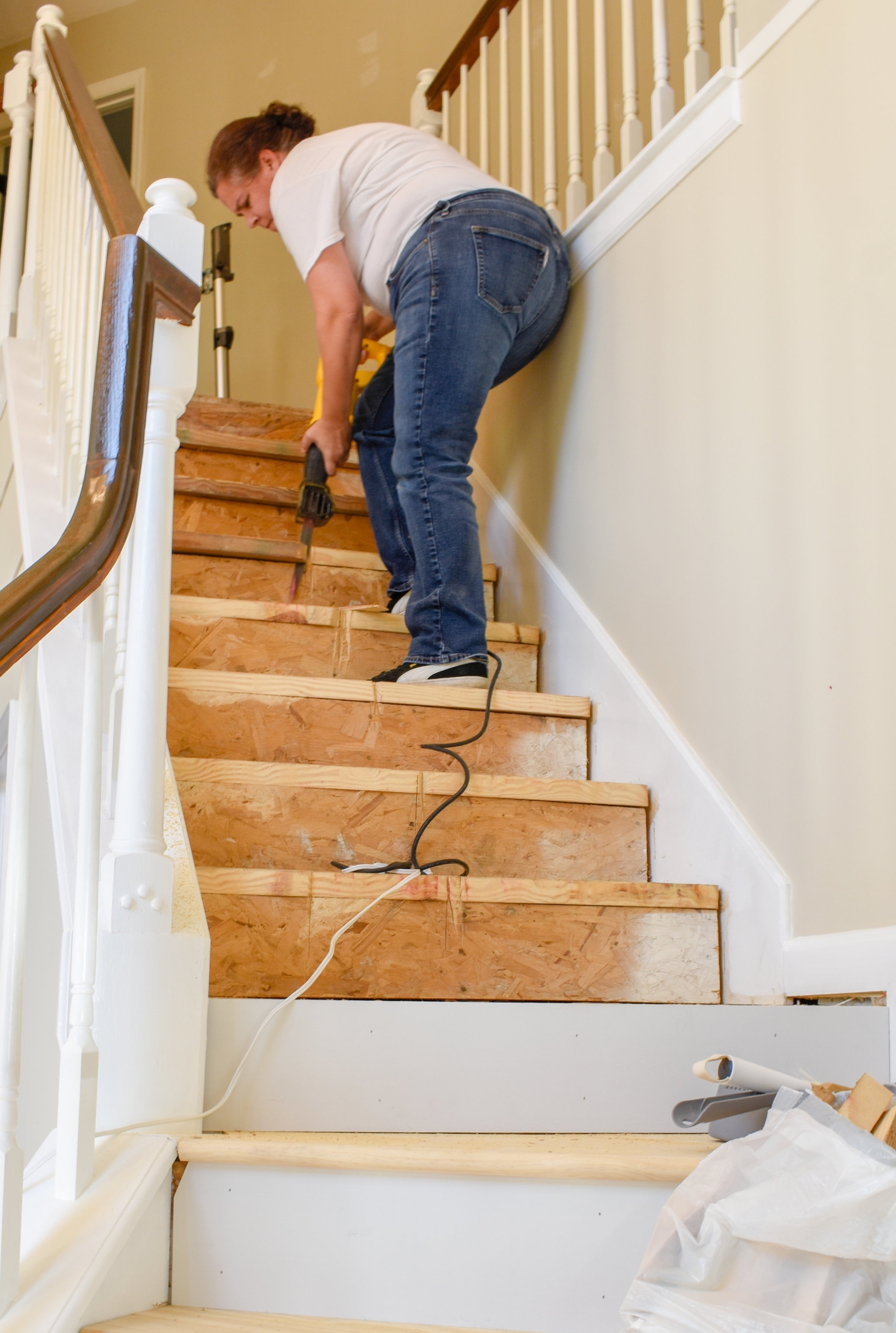 Diy Hardwood Staircase Makeover Replacing Carpet With Wood Treads | Replacing Particle Board Stair Treads | Basement Stairs | Carpeted Stairs | Plywood | Stair Nosing | Stair Case