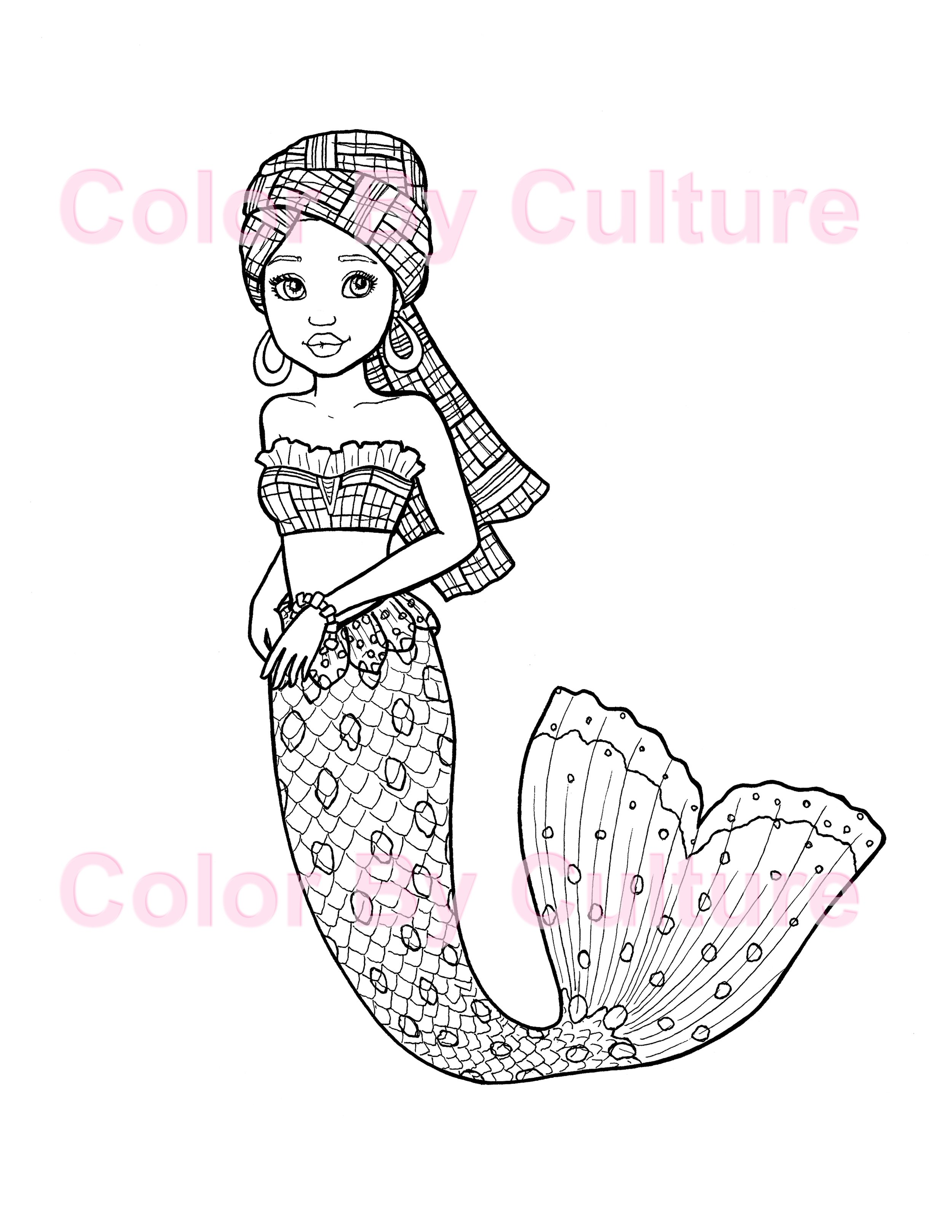 African Mermaid Coloring Page Color By Culture