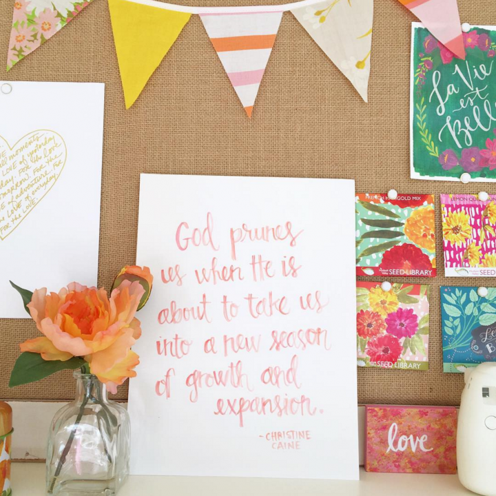 God prunes us watercolor quote