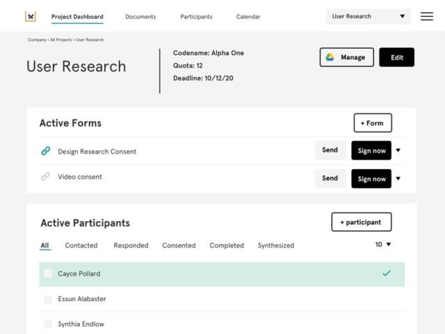 Screenshot tracking where people are in the recruitment process in real team