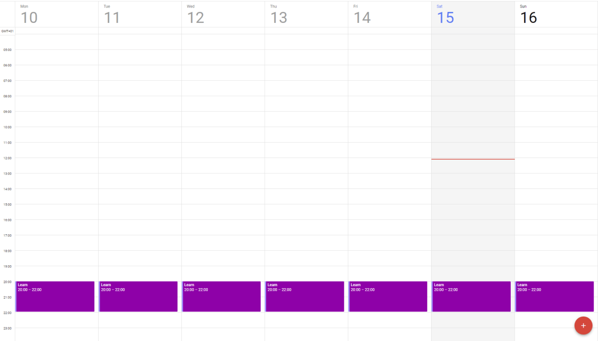 An example of how I schedule my time dedicated to learning a new skill.