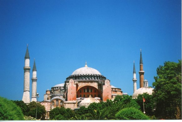 "Hagia Sophia, sometime between 2000-2002. Justinian: ""Constantine, I have surpassed thee."" Credit for the Quote: John Julius Norwich in his series about Byzantium."