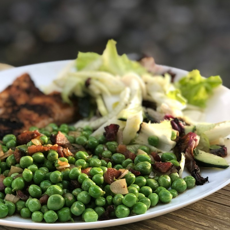 Grilled Wild Caught Mahi Mahi with Fennel & Grilled Radicchio Salad and the lovely Fresh Peas.