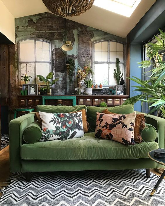 The most wonderful sofa by  @hilaryandflo  - and where my love affair of green sofas began