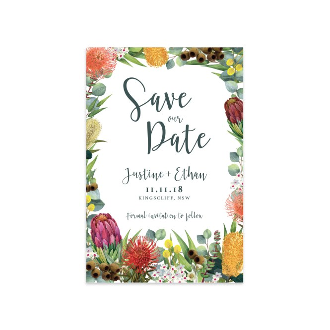 Celebration Save The Date Ficus And Fig Design Custom Wedding Invitations Australia
