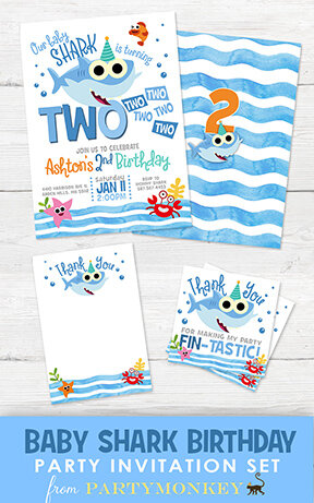 baby shark birthday invitation set