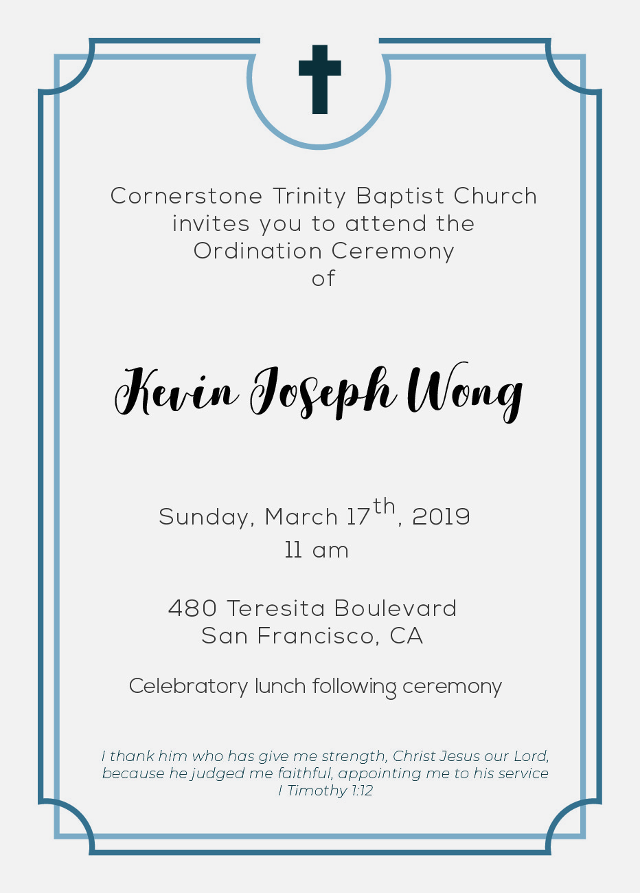 Pastor Kevin's Ordination Ceremony — Cornerstone Trinity