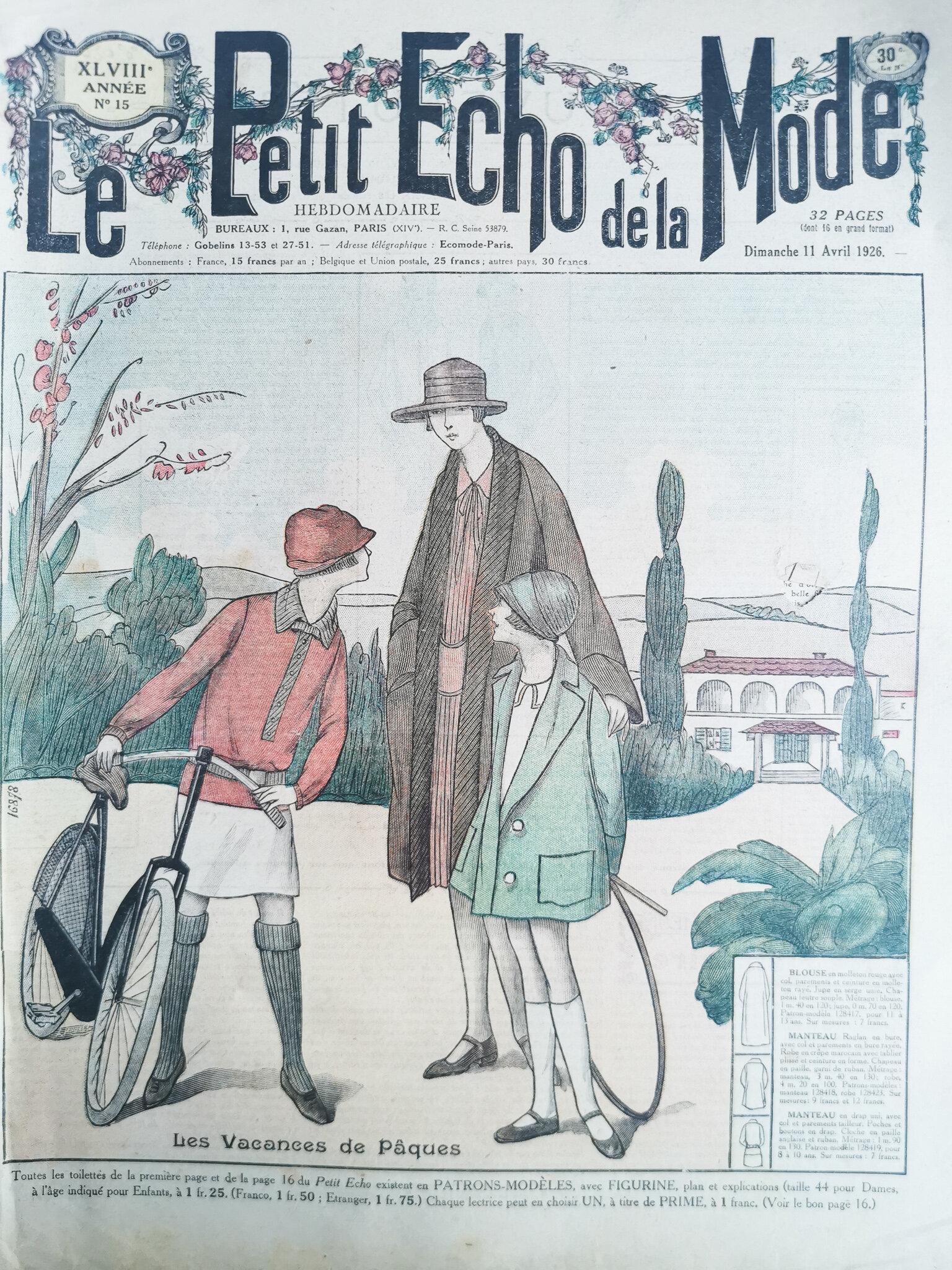 Petit Echo De La Mode : petit, 1926s, Fashion, Magazine,, Petit, French