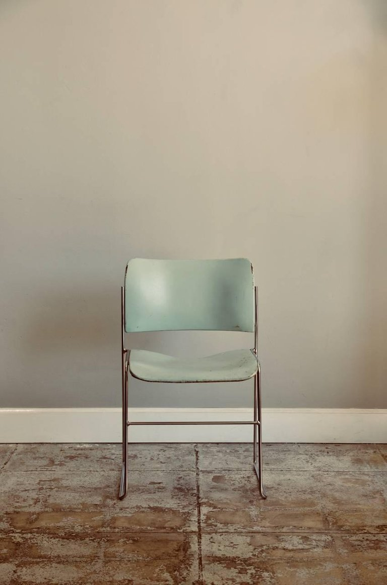 Set Of Six Teal And Chrome David Rowland 40 4 Stacking Chairs Blend Interiors