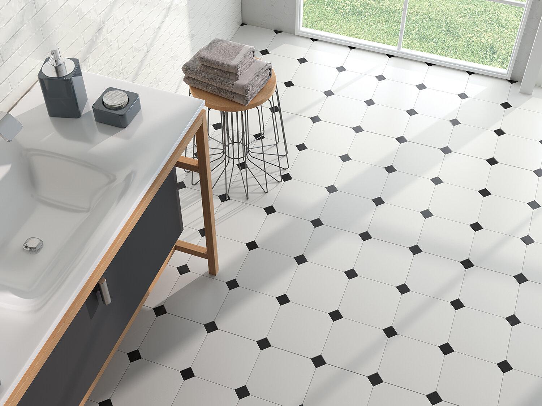 shaped black and white tiles rossett