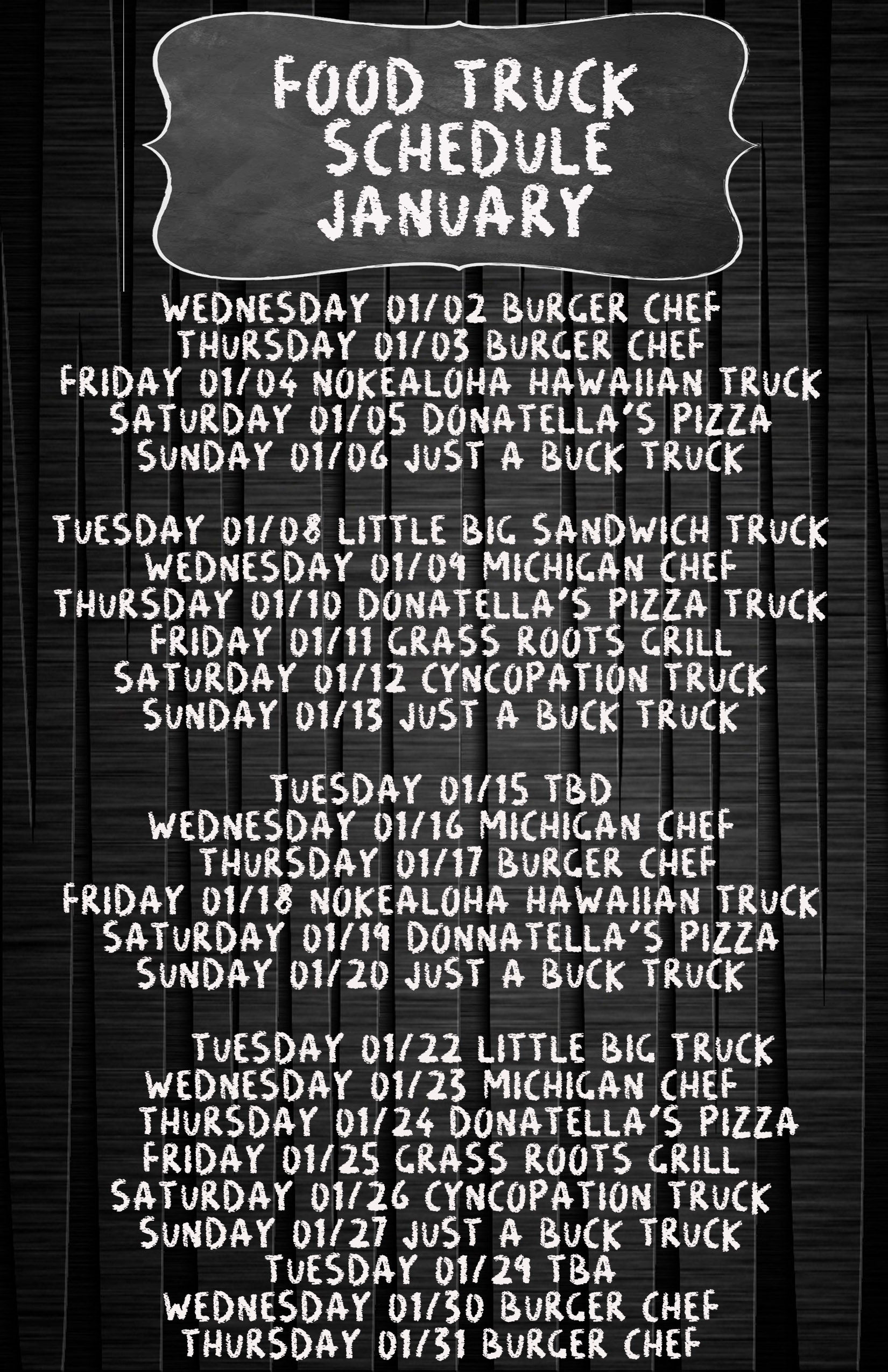 january food truck schedule