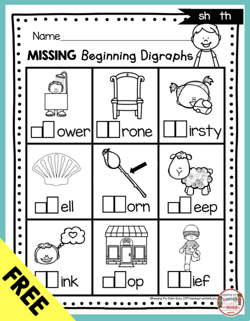 small resolution of Digraphs - Phonics Unit 6 - FREEBIE — Keeping My Kiddo Busy