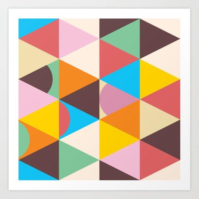 Mod TriDots Mid-Century Modern Triangles - Art Print