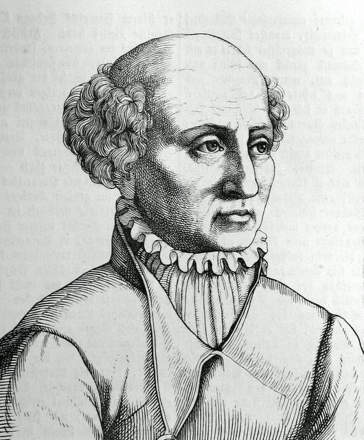 Image Description: drawing of bald man (some curly hair on sides of head) facing right, in high collared old period clothing.